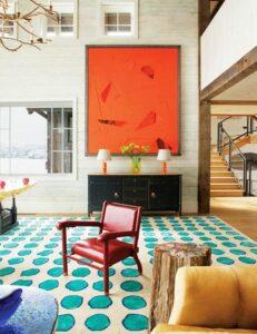 Rterior-studio-westside-la-cocktails-interiors-pop-culture-inpired-livingroom-orange-modern-wall-art