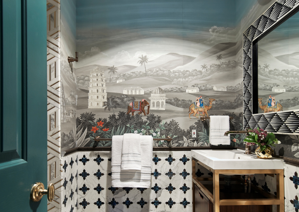 rterior-studio-west-hollywood-bathroom-after-transformation-hand-painted-wallpaper-scene